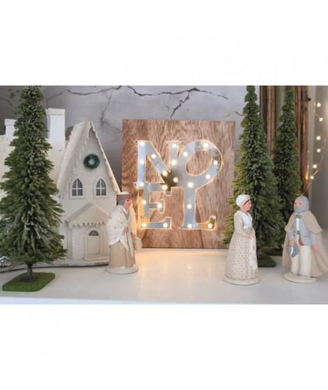 BLACHERE Tableau LED miroir Noël 21 LEDBlanc chaud -L 22 x I 3 x H 25 cm