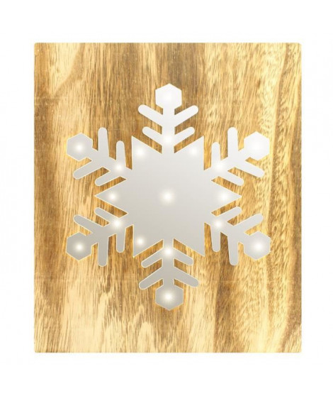 BLACHERE Tableau LED miroir Flocon de Neige 19 LED Blanc chaud - L 22 x I 3 x H 25 cm