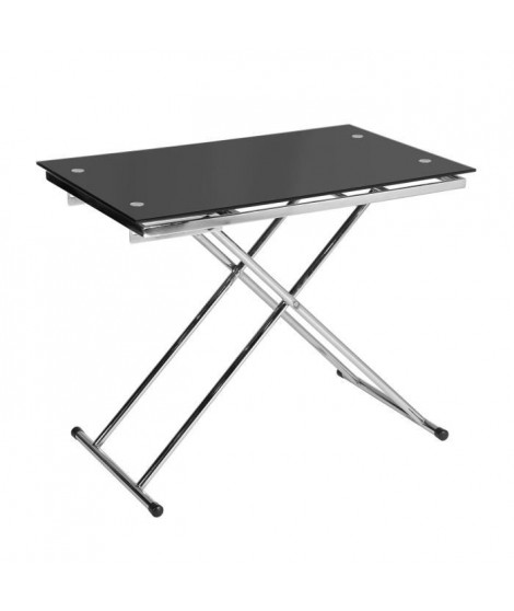 UP & DOWN Table basse relevable en verre trempé noir pied chromé - L 110 cm