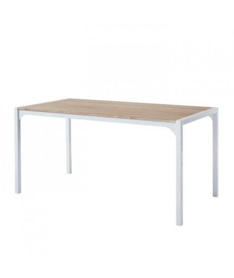 TEXAS Table a manger de 6 a 8 personnes style industriel décor chene + pieds en métal blanc laqué - L 160 x l 90 cm