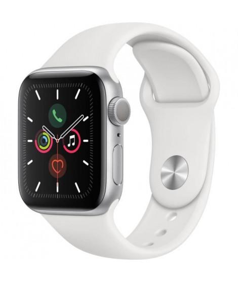 Apple Watch Series 5 GPS 40 mm Boîtier en Aluminium Argent avec Bracelet Sport Blanc - S/M