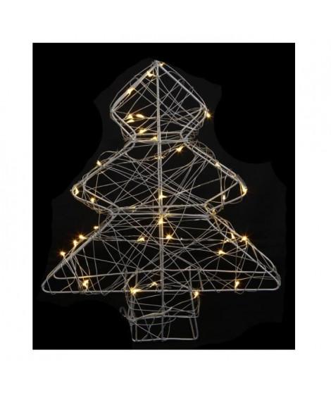 Sapin de Noël artificiel Métal - 40 LED - 25 x 6 x 30 cm - Blanc chaud