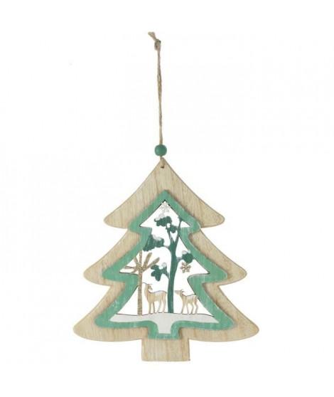 BLACHERE Sapin en bois a suspendre- L 18,5 x H 20 cm - Bois naturel