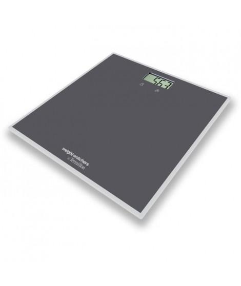 TERRAILLON 14325 Pese-personne - 2 profils - Plateau en verre 30 x 30 cm + élastique de fitness - Gris