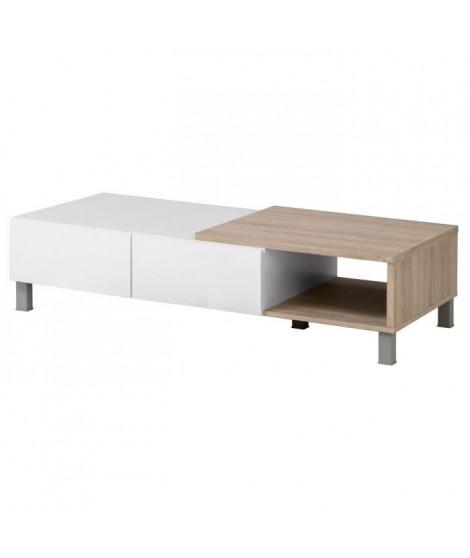 FINLANDEK Table basse TOOTING - Contemporain - Blanc mat et décor chene sonoma structuré 3D - L 131,30 x l 61,70 cm