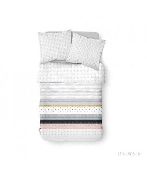 Parure de lit 2 personnes 220X240 Coton imprime blanc Graphique SUNSHINE