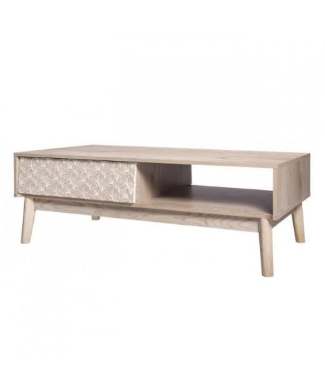 SOFIA Table basse 4 tiroirs - Bois avec motif - L 120 x P 60 x H 40 cm