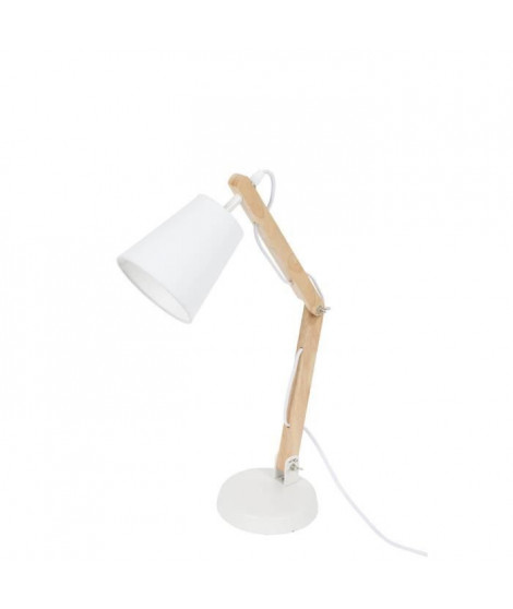 HAPPY Lampe a poser style scandinave E14 40W blanc