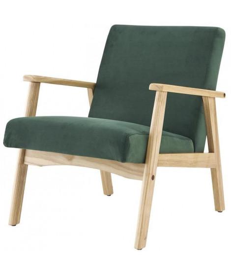 TULIO Fauteuil scandinave - Tissu vert et bois massif - L 63 x P 78 x H 75 cm