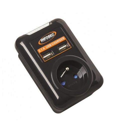 INFOSEC Parasurtenseur S1 USB NEO - 1 Prise FR + 2 ports USB
