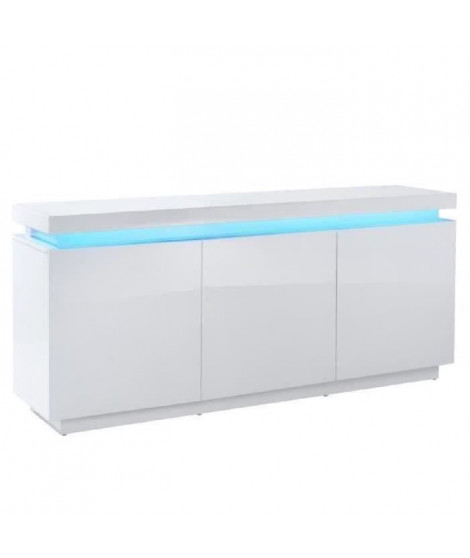 ODYSSEE Buffet bas LED contemporain blanc laqué brillant - L 170 cm