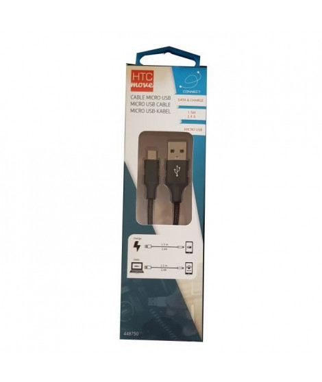 M500 Câble de charge et data avec adaptateur Micro-USB 2,4 A - Connecteurs alu, câble tressé renforcé 1,5 m