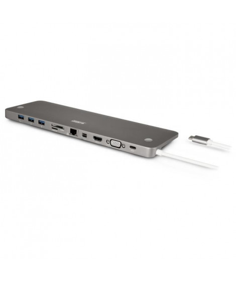URBAN FACTORY Station d'accueil USB-C HDMI/VGA/Mini DIsplay/Micro SD/USB 3,0/SD/MSD (TCD01UF)