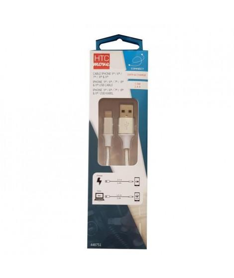 M500 Câble de charge et data avec adaptateur iPhone 5 / 6 / 7 / 8 / X 2,4 A - Connecteurs alu, câble tressé renforcé 1,5 m