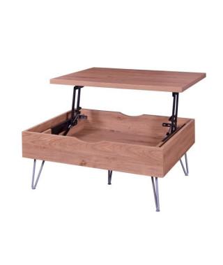VLOUREN Table basse vintage décor chene + pieds en métal - L 79 x l 59 cm