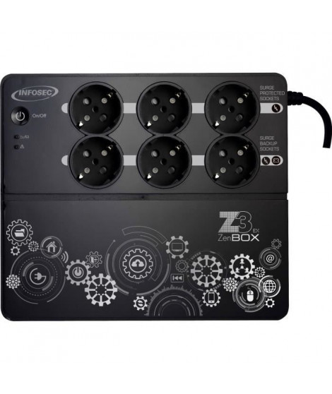 INFOSEC Onduleur haute fréquence Z3 ZenBox EX 500 - 500 VA 6 Prises FR/SCHUKO