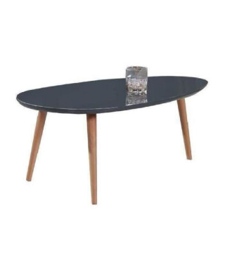 STONE Table basse ovale scandinave gris laqué - L 88 x l 48 cm