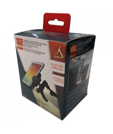 M500 Support smartphone orientable 360° et chargeur sans fil induction - Fixation sur grille d'aération