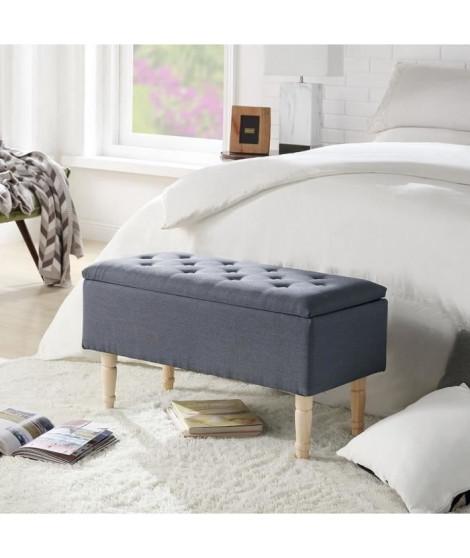 EMILIE Banc avec coffre de rangement - Tissu gris - Classique - L 80 x P 43,5 cm