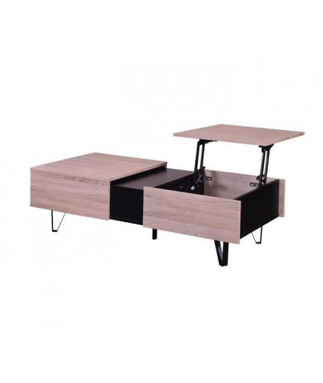 URSA Table basse style contemporain décor chene et noir - L 120 x l 59 cm