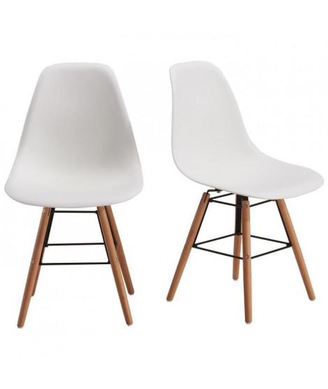 RENA Lot de 2 chaises salle a manger - Blanc + Pieds bois hetre massif - Scandinave - L 52 x P 46,5 cm