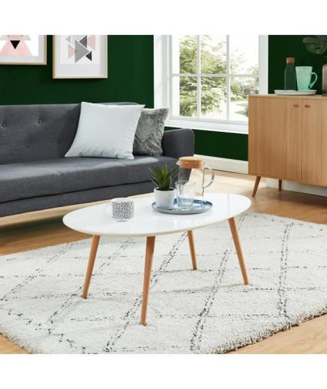STONE Table basse ovale scandinave blanc laqué - L 98 x l 61 cm