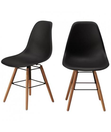 RENA Lot de 2 chaises de salle a manger noir satiné + pieds en bois hetre massif - Scandinave - L 52 x P 46,5 cm