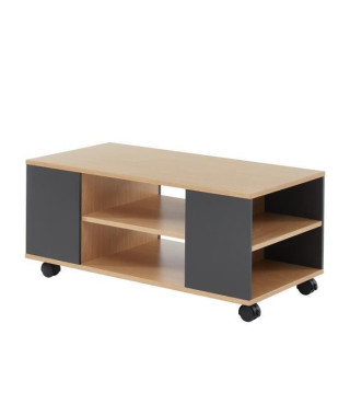 LYNA Table basse - Style industriel - Décor chene et gris anthracite - L 90 x P 45 H 40 cm