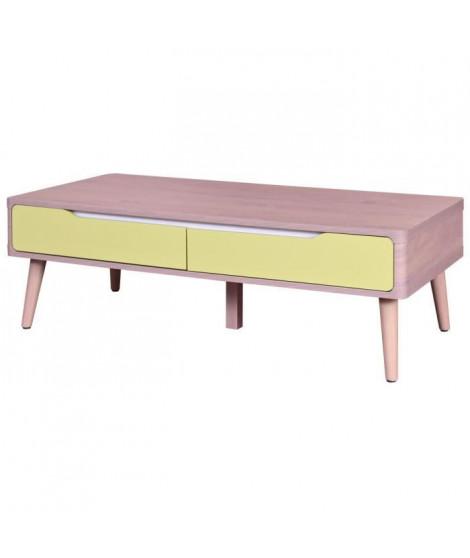 JERRY Table basse scandinave décor chene et pantone 7492C + pieds en bois hetre massif - L 120 x l 59 cm