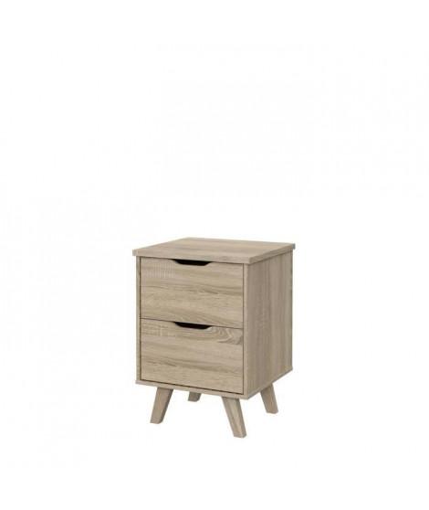 Chevet 2 tiroirs scandinave décor chene - L 45 - Pieds en massif - VANKKA
