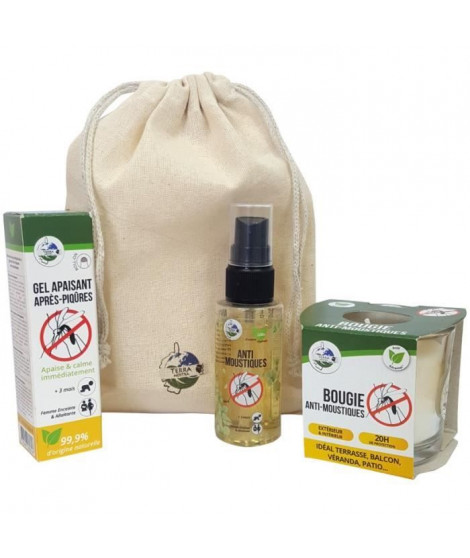 TERRA NOSTRA Kit anti-moustiques N°1 - Bougie, Spray 50 ml & Gel apaisant