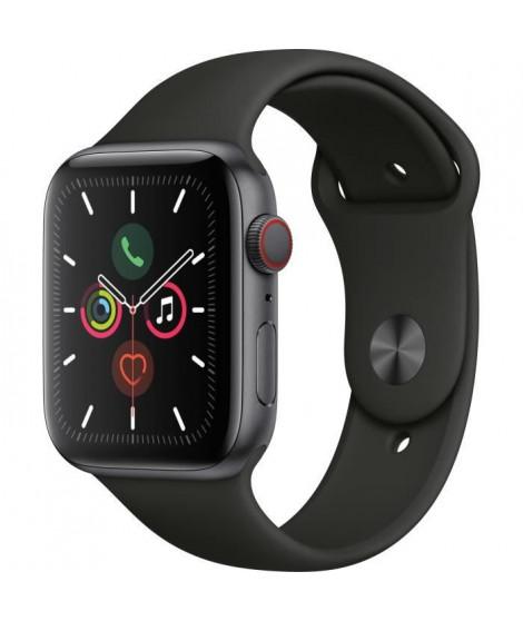 Apple Watch Series 5 Cellular 44 mm Boîtier en Aluminium Gris Sidéral avec Bracelet Sport Noir - M/L