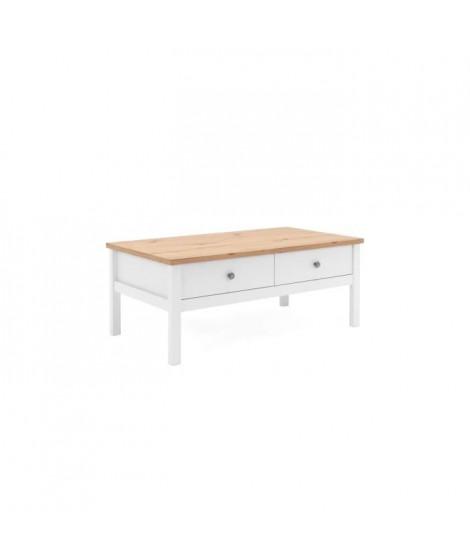 BERGEN Table basse - Décor chene naturel et blanc - L 100 x P 40 x H 55 cm