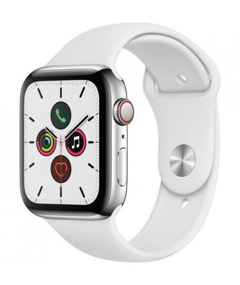 Apple Watch Series 5 Cellular 44 mm Boîtier en Acier Inoxydable avec Bracelet Sport Blanc - M/L