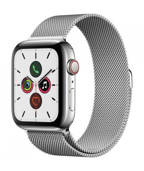 Apple Watch Series 5 Cellular 44 mm Boîtier en Acier Inoxydable avec Bracelet Milanais - M/L