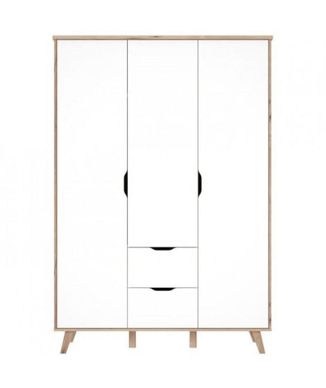 FINLANDEK Armoire de chambre VANKKA scandinave décor chene et blanc mat + pieds en bois massif - L 140 cm