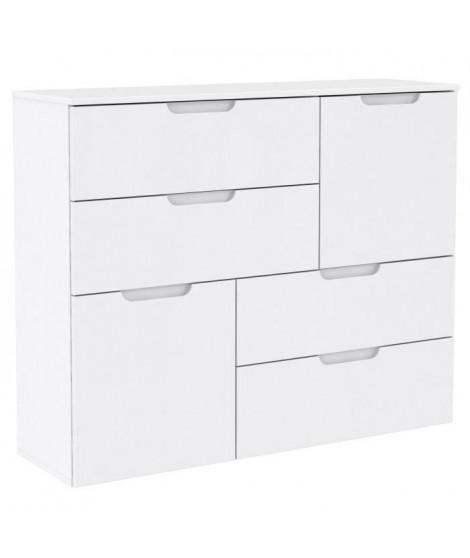 SIENNA Buffet style contemporain blanc brillant - L 115 cm