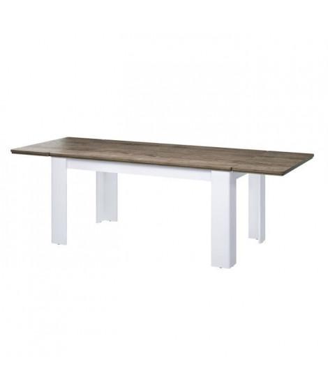 DESSY Table a manger extensible de 6 a 10 personnes contemporain style blanc mat et décor bois - L 160 - 239 x l 90 cm