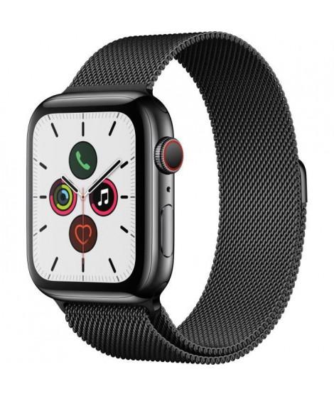 Apple Watch Series 5 Cellular 44 mm Boîtier en Acier Inoxydable Noir Sidéral avec Bracelet Milanais Noir Sidéral - M/L