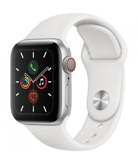 Apple Watch Series 5 Cellular 40 mm Boîtier en Aluminium Argent avec Bracelet Sport Blanc - S/M