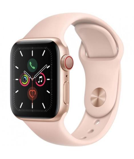 Apple Watch Series 5 Cellular 40 mm Boîtier en Aluminium Or avec Bracelet Sport Rose - S/M