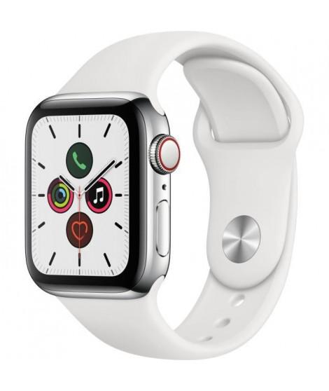 Apple Watch Series 5 Cellular 40 mm Boîtier en Acier Inoxydable avec Bracelet Sport Blanc - S/M