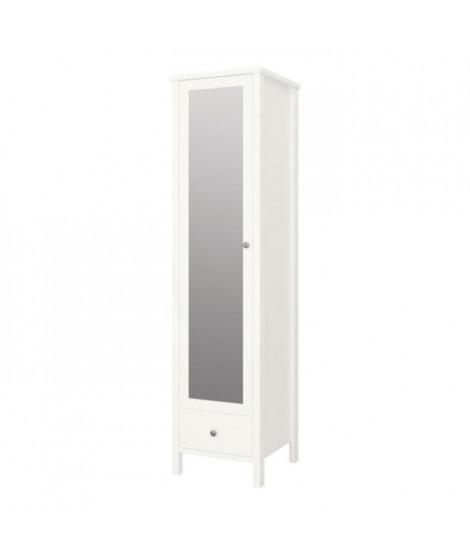 TROMSÖ Armoire 1 porte miroir + 1 tiroir - Laqué blanc MDF - L 49,3 x P 49,5 x H 195 cm
