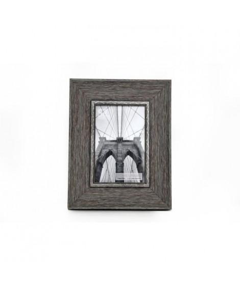 Cadre photo gris - Effet bois - 10 x 15 cm