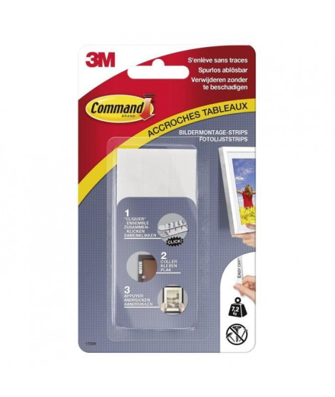 3M COMMAND Languettes de fixation - Grand modele - Blanc
