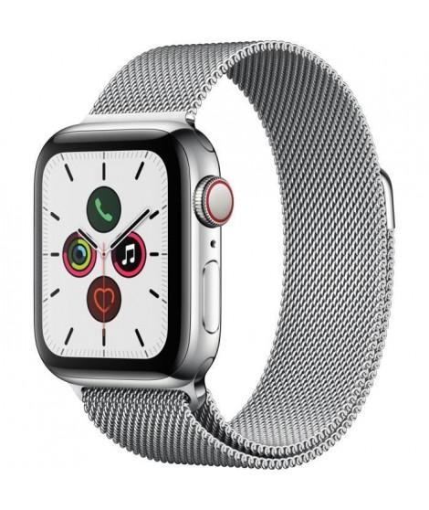 Apple Watch Series 5 Cellular 40 mm Boîtier en Acier Inoxydable avec Bracelet Milanais - S/M