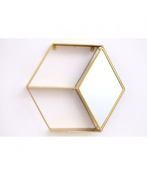 Etagere hexagonale doré - 48x44 cm