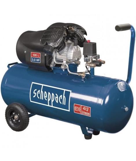 SCHEPPACH Compresseur d'air horizontal HC100DC - 100 L - 3CV - 8 bars - Double cylindre a moteur lubrifié