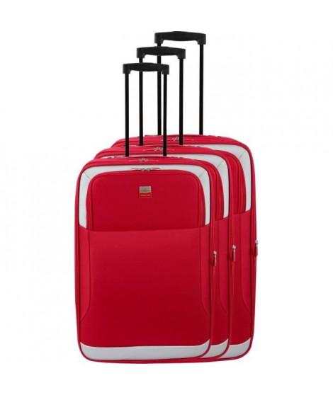 FRANCE BAG - Set de 3 valises extensibles 2 roues - Rouge