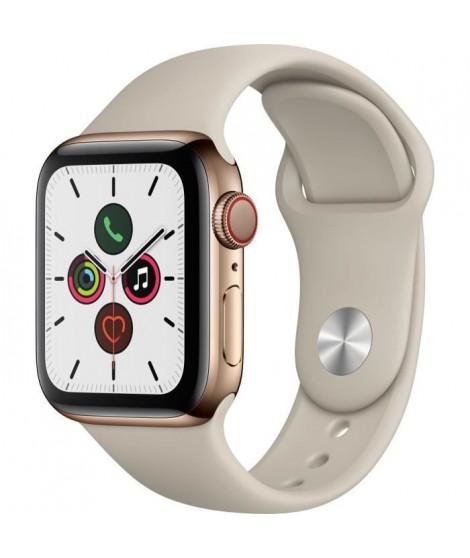 Apple Watch Series 5 Cellular 40 mm Boîtier en Acier Inoxydable Or avec Bracelet Sport Stone - S/M